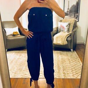 Arden B Blue Strapless Jumpsuit Size XS